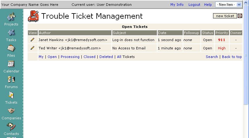 Trouble Ticket System